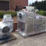 T1000 dust collector packed onto a pallet