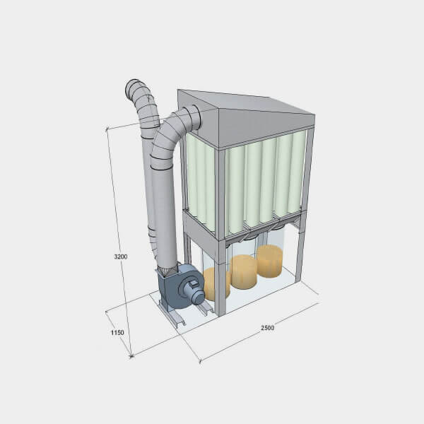 T750 dust collector with dimensions