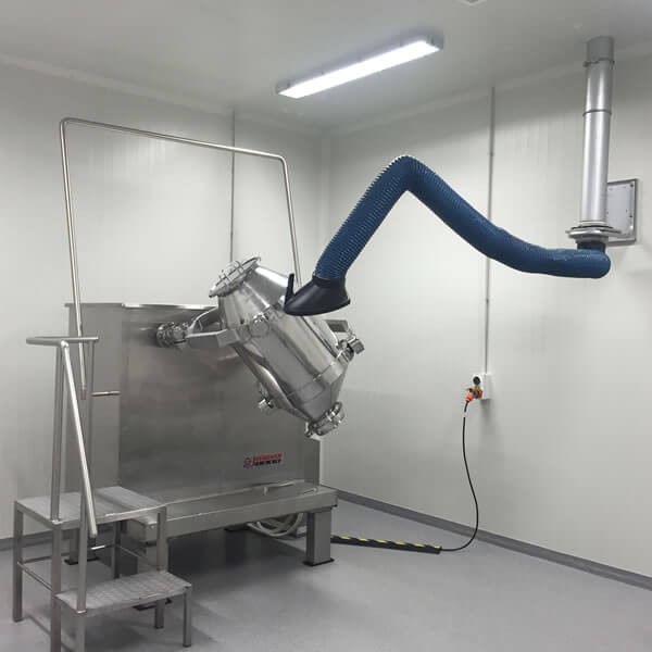 Fume arm in use for pharmaceutical dust extraction