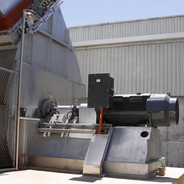 Large industrial fan in stainless steel